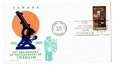 1971 Vintage Fdc Canada #533 50th Anniversary of Insulin Science Jackson Cachet