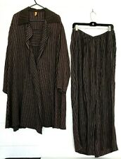 Staley Gretzinger LONG Jacket/Pants SET Large Lagenlook LG L Black/Brown Stripes