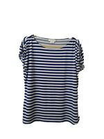 Calvin Klein Size XL Extra Large Striped Blue & White Short Sleeve Top