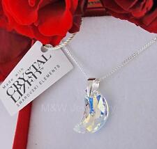 925 STERLING SILVER CHAIN NECKLACE MADE WITH SWAROVSKI ELEMENTS MOON CRYSTAL AB