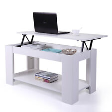 White Lift Top Coffee Table w/ Hidden Storage Shelves Wood Living Room Furniture