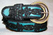 Elite Bright Green Genuine Leather and Black Soutache Belt Size Large - 32