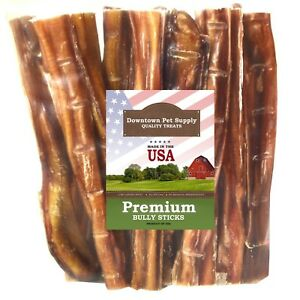 """Best Free Range 6"""" & 12"""" American Bully Sticks for Dogs Made in USA - Odorless"""