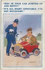 Comic Police and Car by Donald McGill Jumping Car with Hiccoughs