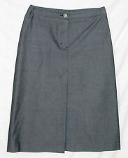 Rebecca Taylor Skirt 2 XS cotton aline pencil blue gray denim chambray fly front