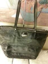 Coach Signature C Stitched Patent Black Leather Shoulder Bag Purse Tote F15142