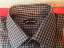 TOM FORD MENS $695 BROWN /SILVER GINGHAM 100% COTTON SHIRT SZ. 16/41 NWTAG ITALY