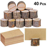 40pcs Wooden Pile Name Card Photo Holders Menu Number Stand Wedding Table Decor