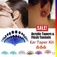 36PCS Ear Stretching KIT Acrylic TAPER & PLUG Red O-Ring Ear Piercing Expander