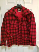 Vintage 1950s WOOLRICH Mens Sz 44 Buffalo Plaid Hunting Jacket Button