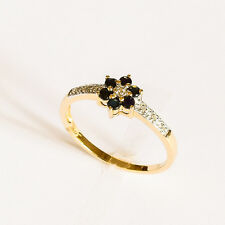 SAPPHIRE RING NATURAL SAPPHIRES DIAMONDS REAL 9K GOLD FLOWER PATTERN SIZE O NEW