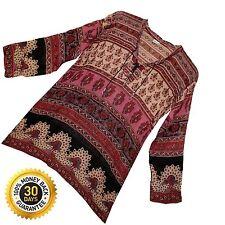 Indian Ethnic Top Ladies Women Uk Shirt Sleeve Neck Long T V Blouse Casual 101