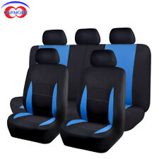 11 Part Universal Car Seat Covers Front Rear Head Rests Full Set Blue Color