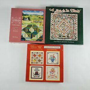 Lot of 3 Quilting and Coss Stitch Puzzles Quiltscape 750 Pieces