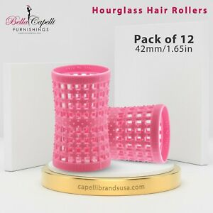 Large Pink 42mm /1.65in Pack of 12 - Hourglass Rollers All Hair Types Unisex