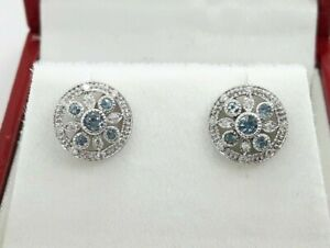 18ct White Gold Aquamarine & Diamond Floral Stud Earrings, by Luke Stockley