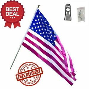 3 x 5 Foot Polycotton US American Flag Kit with 6 Foot Steel Pole and Bracket