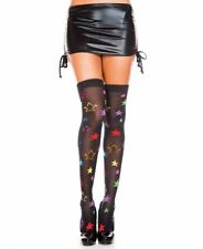 Neon Star Print Thigh High Stockings - Music Legs 4228