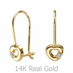 14K Solid Yellow Gold Eliptical Hoop Earrings Heart Of Mazy Cubic Zirconia Child