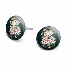 Silver Plated Stud Earrings Do Everything With Love Novelty