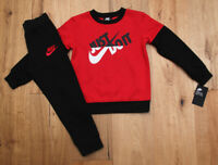 Nike Boy 2 Piece Jogging Set ~ Black, Red & White ~ Just Do It ~