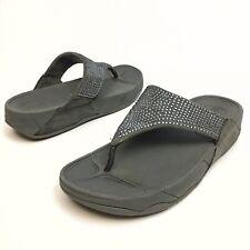 FitFlop Grey Rhinestone Rokkit Wedge Thong Flip Flops Sandals Women's Size 9
