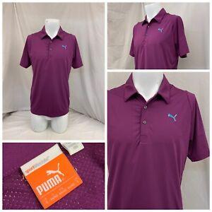 Puma Golf Polo Shirt S Men Purple Poly Polo Short Sleeve LNWOT YGI W0-728