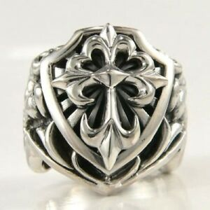 BIG KNIGHT CROSS SOLID 925 STERLING SILVER MEN'S RING CHRISTIAN NEW BAND BIKER