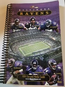 1999 BALTIMORE RAVENS FOOTBALL MEDIA GUIDE RAY LEWIS AND OTHERS ON COVER