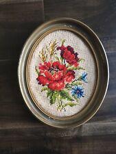 Vtg Framed Finished Floral Needlepoint
