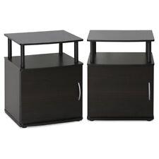 Furinno Jaya Utility Design End Table - Set of 2, Black