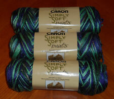 "Caron Simply Soft ""Paints"" Yarn Lot Of 3 Skeins (Passion #0019) 4 oz."