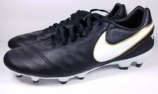 Nike Size 11 Soccer Cleats Tiempo Mystic V FG Black White Gold 819236-010 Mens