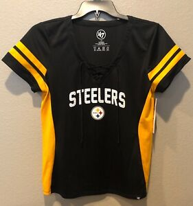 47 Brand Very Rare Women's Pittsburg Steelers Embellished Lace-Up Jersey Size L