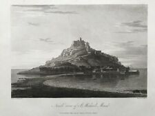 1813 Antique Print; St Michael's Mount, North View, Cornwall after Farington