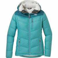 Outdoor Research Womens Jacket Blue Sz Small S Transcendent Down Hoodie $69 798