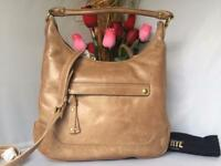 AUTH NWT Frye Melissa Large Italian Leather Top Zip Hobo Shoulder Bag New Taupe
