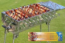 Schaschlikgrill Holzkohlegrill Mangal  Edelstahl Grill + 10 Spieße