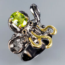 Handmade Natural Peridot 925 Sterling Silver Ring Size 8/R117211