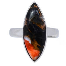 Oyster & Black Calsite 925 Sterling Silver Ring Jewelry s.7.5 AR159880