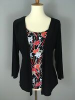Sag Harbor Womens Sz L Slinky Knit Layered Top Blouse Black Coral Floral Shirt