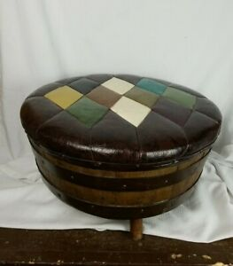 Mid Century Whiskey Barrel Ottoman by Brothers of Kentucky