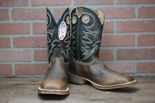 MEN'S JUSTIN BENT RAIL PULL ON SZ 9 EE WESTERN BOOTS BR740 TOBACCO/BLACK SQ TOE