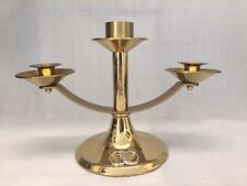 Wedding Unity Candle Holder Polished Brass with Silver Finish Rings