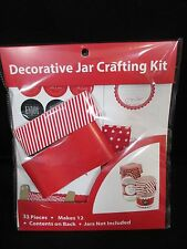Decorative 12 Jar Crafting Kit Red Stripe Valentines Homemade Treats Baked Goods