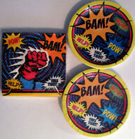 SUPER HERO Birthday Party Supply Set Kit w/ Plates & Napkins !