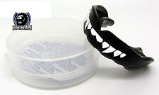FANGS Black Gum Shield Mouth Guard Teeth Protector Boxing MMA Wrestling - Senior