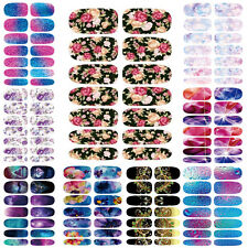 HOT 9pcs Flowers 3D Full Cover Wraps Water Transfer Nail Art Stickers Decals DIY