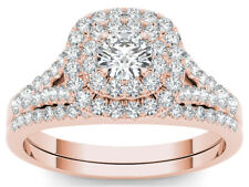 IGI Certified 10k Rose Gold 1ct TDW Diamond Halo Engagement Ring with 1 Band