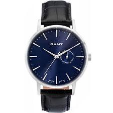 Gant W10849 Park Hill II silber blau schwarz Leder Armband Uhr Herren NEU
